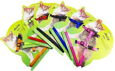Adjustable Nylon Pet Cat Harness and Leash ~ Collar with Lead ~ 6 Colors