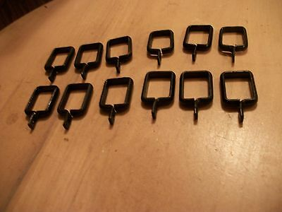 ANTIQUE-OLD CAST DRAPERY ROD CLIPS LOT BLACK -12 EACH -1/2 X 3/4-heavy ones