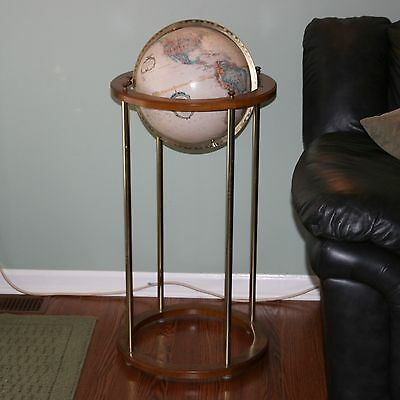 "12"" Replogle World Classic Globe Wood Brass Floor Stand 36"" USSR Spinning Earth"