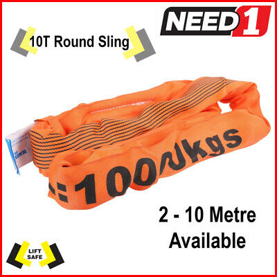 10T Round Lifting Sling 2-8 Metres Available 100% Polyester Comes With Test Cert
