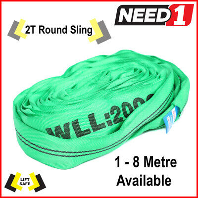 LIFT SAFE - 2T - Round Lifting Slings - 1m to 8m - 100% Polyester - Test cert