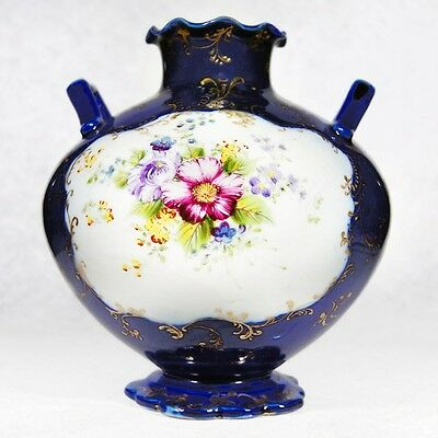 Very Good Japan Cobalt Floral Vase, Pre-Nippon, Mark