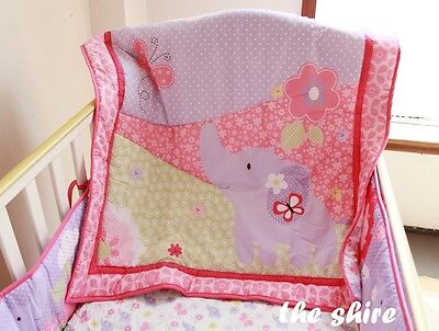 Baby Bedding Crib Cot Quilt Set- NEW 6pcs Quilt Bumper Sheet Dust Ruffle Nappy S