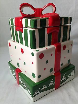 Stacked Christmas Gifts Cookie Jar CIB