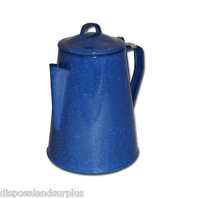 Enamel Ware 8 Cup Coffee Pot Kettle With Percolator