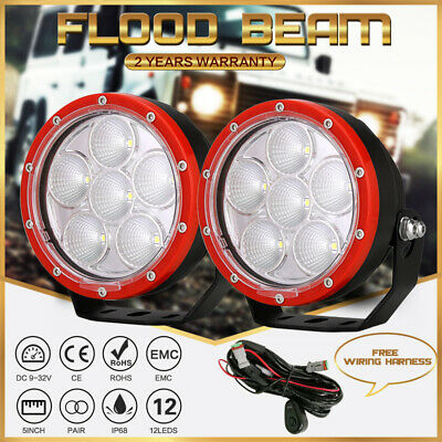 New5inch 21600W LED Cree Work Driving Light Spot Black Offroad 4WD HID Round UTE