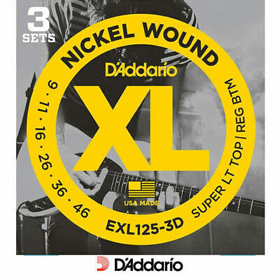 D'addario EXL125 -3D 3 Pack Electric 9-46 Guitar Strings Set Daddario