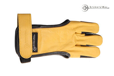 ArcheryMax Traditional Yellow  Gloves Archery 3 Fingers Guard For Hunter