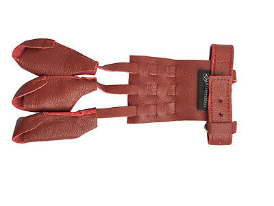 Handmade Red Cow Leather Hunter Gloves Archery 3 Fingers Guard Adjustable