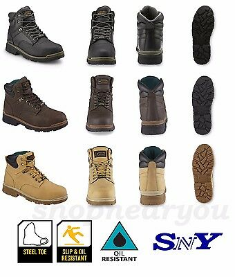 "Men's Safety Work Utility Boot 6"" cushioned Oil Slip resistance Steel Toe PPE"