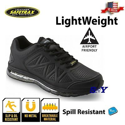 Mens Slip Resistant Memory Foam Black Athletic Sport Work Safety PPE Shoe boot