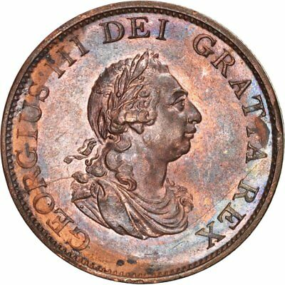 [#503063] Great Britain, George III, 1/2 Penny, 1799, MS(60-62), Copper, KM:647