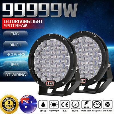 9inch 99999W CREE LED Spot Driving lights Spotlights Round 7D Black Offroad 4x4