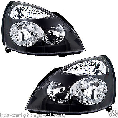 Renault Clio Mk2 2001-2005 Headlights Headlamps 1 Pair O/s & N/s