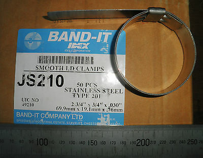 """1 pc BAND-IT Smooth ID JS210 Stainless Steel Pre-formed Clamps 2 3/4""""x3/4""""x0.03"""""""