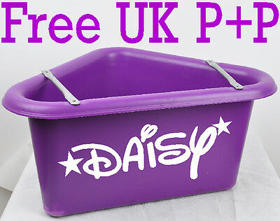 Personalised name sticker for horse water / feed bucket + stable groomimg box