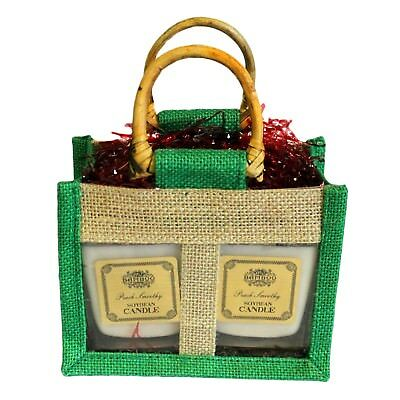 Small Two Jar Jute Gift Bag with handles and window