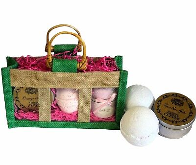 10 x Small Three Jar Jute Gift Bag With Handles And Window Green High Quality
