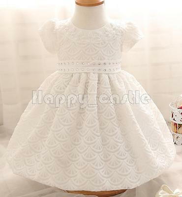 Baby Girls Kid White Lace Floral Rhinestone Baptism Christening Gown Dress 3-12M