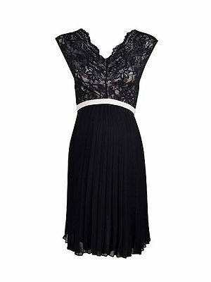 Rock-a-Bye Rosie Ciara Lace Pleated Maternity Dress Black Sizes 8 10