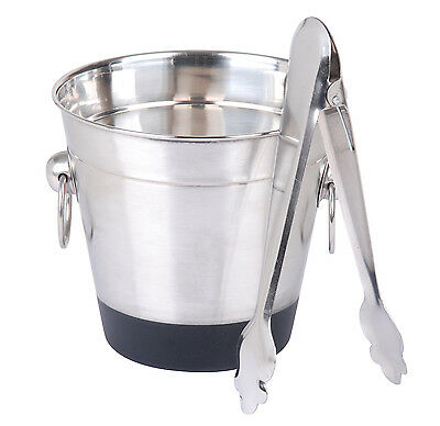 Stainless Steel Ice Bucket With Tongs Cooler Wine Champagne
