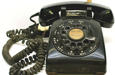 1955 Black Western Electric Bell System 500 Rotary Desk Telephone Black w/ Cord