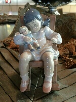 Retired Lladro Nap Time Girl Rocking Chair #5448 EXCELLENT CONDITION