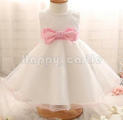 Baby Newborn Girls Flower Bow Party Baptism Christening Occasion Ball Gown Dress
