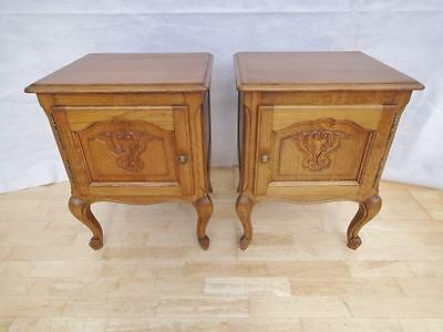 Pair of Antique Style French Country Oak Bedside Cabinets