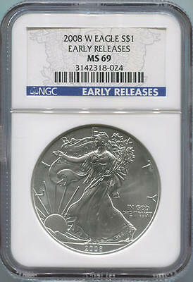 2008 W American Silver Eagle. Early Releases. NGC MS69