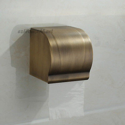 Antique Brass Bathroom Wall Mount Toilet Paper Roll Holder Waterproof Tissue Box