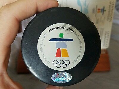 Game used Vancouver Olympic Puck 2010