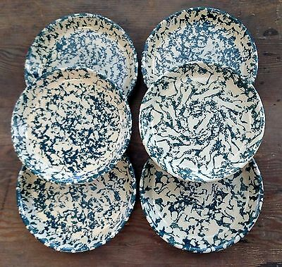 Robinson Ransbottom Spongeware Dark Green Pine Six Salad Plates Crazing Chip