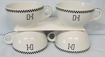 Daughters of Israel Buffalo China Black and White Border Cup Set of 4