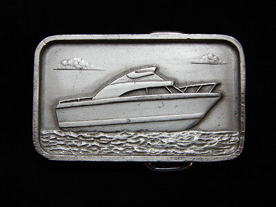 PF23116 VINTAGE 1970s **CABIN CRUISER BOAT** COMMEMORATIVE PEWTER BELT BUCKLE