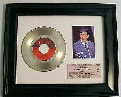 Frank Sinatra That's Life Gold 45 Record + mini poster & Ticket Not a RIAA Award