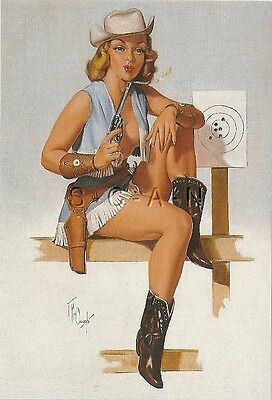 1950s Type Semi Nude Large(4.25 x 6.25) Pinup PC- Forest Clough- Cowgirl- Pistol