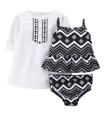 Carter's Baby Girl 3PC Rashguard UPF +50 Sun Protection Tankini Set~Cover-up NWT