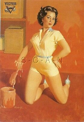 1950s Type Semi Nude Large (4.5 x 6.25) Pinup PC- William Medcalf- Vicki- Paint