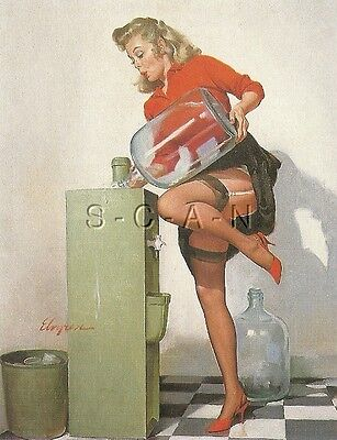 1940s Type Semi Nude Large (4.25 x 6.5) Pinup PC- Gil Elvgren- Water Cooler
