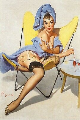 1960s Type Semi Nude Large (4.25 x 6.25) Pinup PC- Gil Elvgren- Fishing Touch