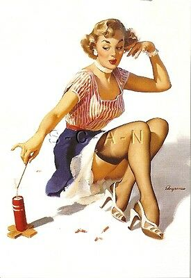 1950s Type Semi Nude Large (4.25 x 6.25) Pinup PC- Gil Elvgren- Firecracker