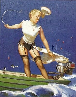 50s Type Semi Nude Large (4.25 x 6.25) Pinup PC- Gil Elvgren- Motorboat- Takeoff