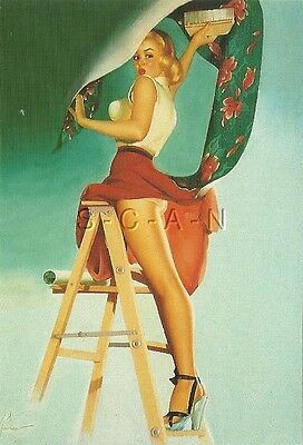 1950s Type Semi Nude Large (4.5 x 6.5) Pinup PC- Edward Runci- Wallpaper- Ladder