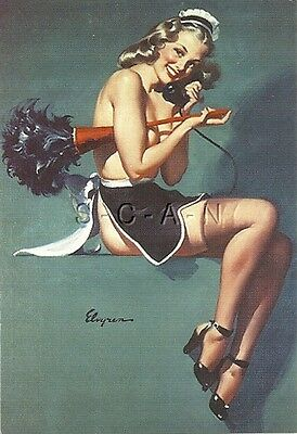 1940s Type Semi Nude Large (4.25 x 6.25) Pinup PC- Gil Elvgren- Maid- Duster