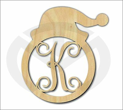 Unfinished Wood Santa Hat Monogram with Initial Laser Cutout, Door Hanger