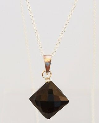 Sterling Silver Black Onyx Necklace Faceted Diamond Shaped Vintage + 925 Chain