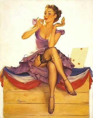 1950s Type Semi Nude Large (4.25 x 6.25) Pinup PC- Gil Elvgren- Kissing Booth