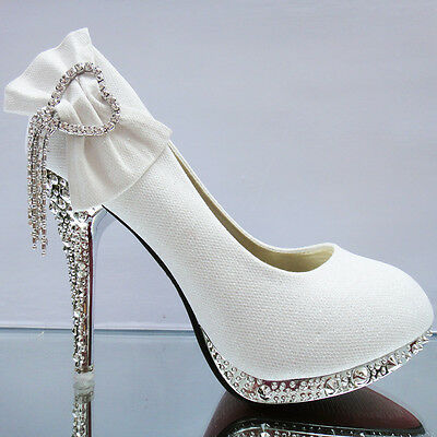 Lace white ivory crystal Wedding shoes Bridal flats low high heel pump size 5-13