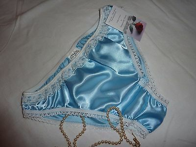 c71b5754089 PALE BLUE shiny SATIN panties low rise BIKINI BRIEFS ivory lace Made in  France